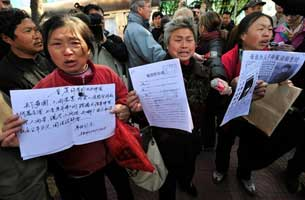 Chinese petitioners outside a courthouse in Beijing, April 3, 2008.