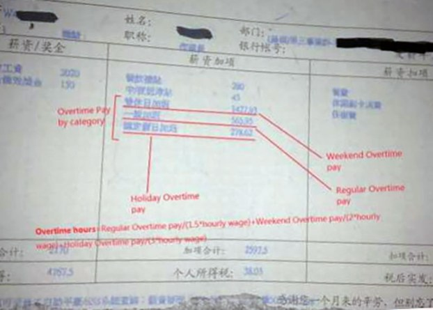 This document shows that a worker at Taiwan-invested Apple supplier Pegatron Shanghai was not receiving proper overtime pay.