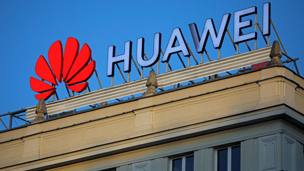 The logo of Chinese telecom giant Huawei is seen on a building in downtown Warsaw, Poland, June 17, 2019.