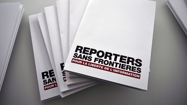 Copies of Reporters Without Borders' annual World Press Freedom Index sit on a table at Agence France-Presse headquarters in Paris, April 26, 2017.