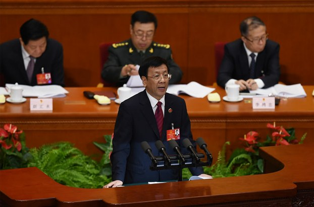 Cao Jianming, procurator-general of the Supreme People's Procuratorate, speaks in the Great Hall of the People in Beijing, March 13, 2016.