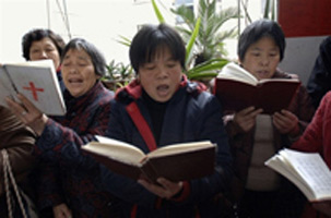 Christians in Hefei, in Anhui province, sing a devotional hymn.