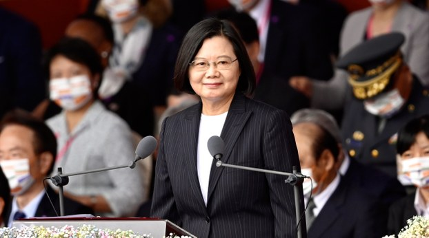 Taiwan President Tsai Ing-wen speaks outside the Presidential Palace on National Day, Oct. 10, 2020.