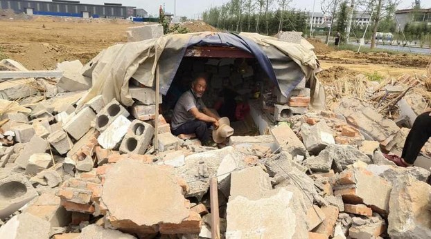 Buildings are shown razed for a mass rural resettlement program in Lanling county, Shandong, July 2020.