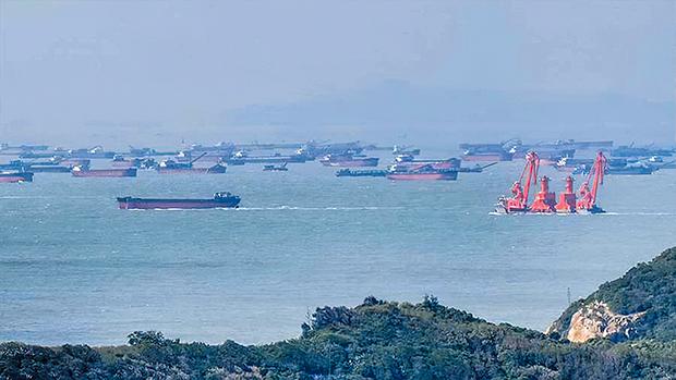 Dozens of Chinese sand-pumping ships appear in the waters of Taiwan's Matsu Nangan Island, Oct. 25, 2020.
