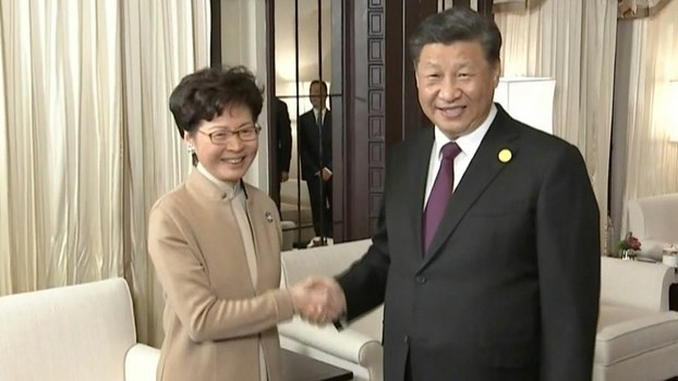 Chinese President Xi Jinping (R) and Hong Kong Chief Executive Carrie Lam shake hands during their meeting in Shanghai, Nov. 4, 2019.