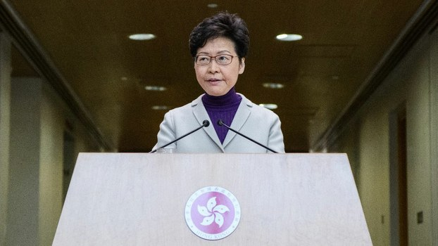 Hong Kong Chief Executive Carrie Lam speaks during a press conference at the government headquarters in Hong Kong on December 3, 2019.