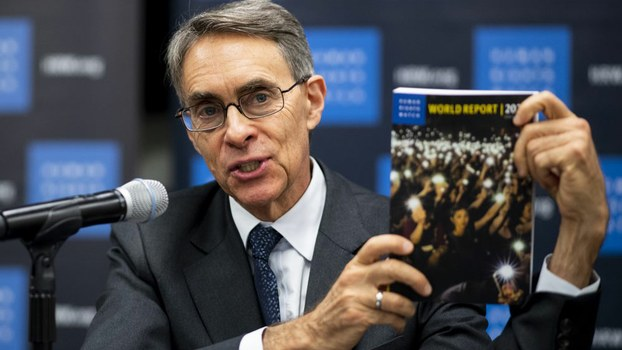 Human Rights Watch Executive Director Kenneth Roth speaks during a press conference to launch their 2020 World Report at the New York United Nations headquarters in New York City, Jan. 14, 2020.