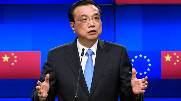 Chinese Prime Minister Li Keqiang speaks during a joint press conference with the European Commission and European Council presidents after the EU-China summit in Brussels, Belgium, April 9, 2019.