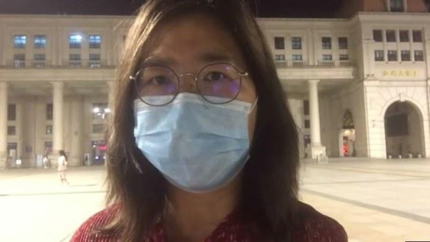 Citizen journalist Zhang Zhan is shown in a screenshot taken from a video interview.