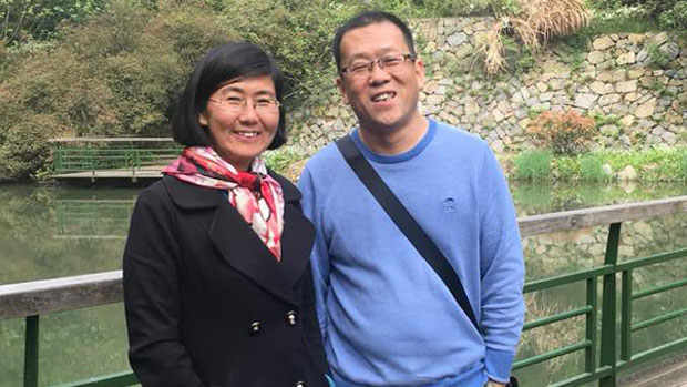 Chinese human rights lawyer Wang Yu and husband Bao Longjun, who were both detained in a massive nationwide crackdown on rights lawyers and activists that began in July 2015, in undated photo.