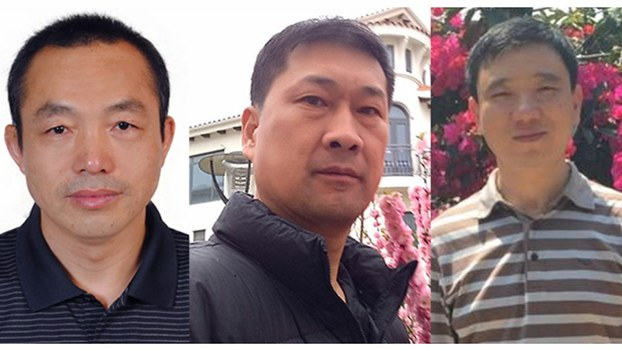 Chinese human rights lawyers (L-R) Ding Jiaxi, Zhang Zhongshun and Dai Zhenya, in file photos.