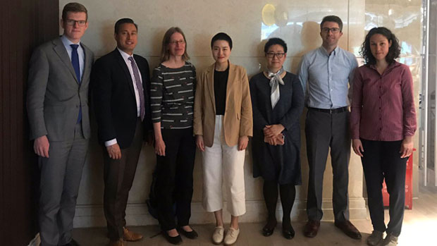 Li Wenzu (C) meets in China with human rights officials from the U.S., Germany, Canada, Switzerland, and the Netherlands, May 6, 2019.