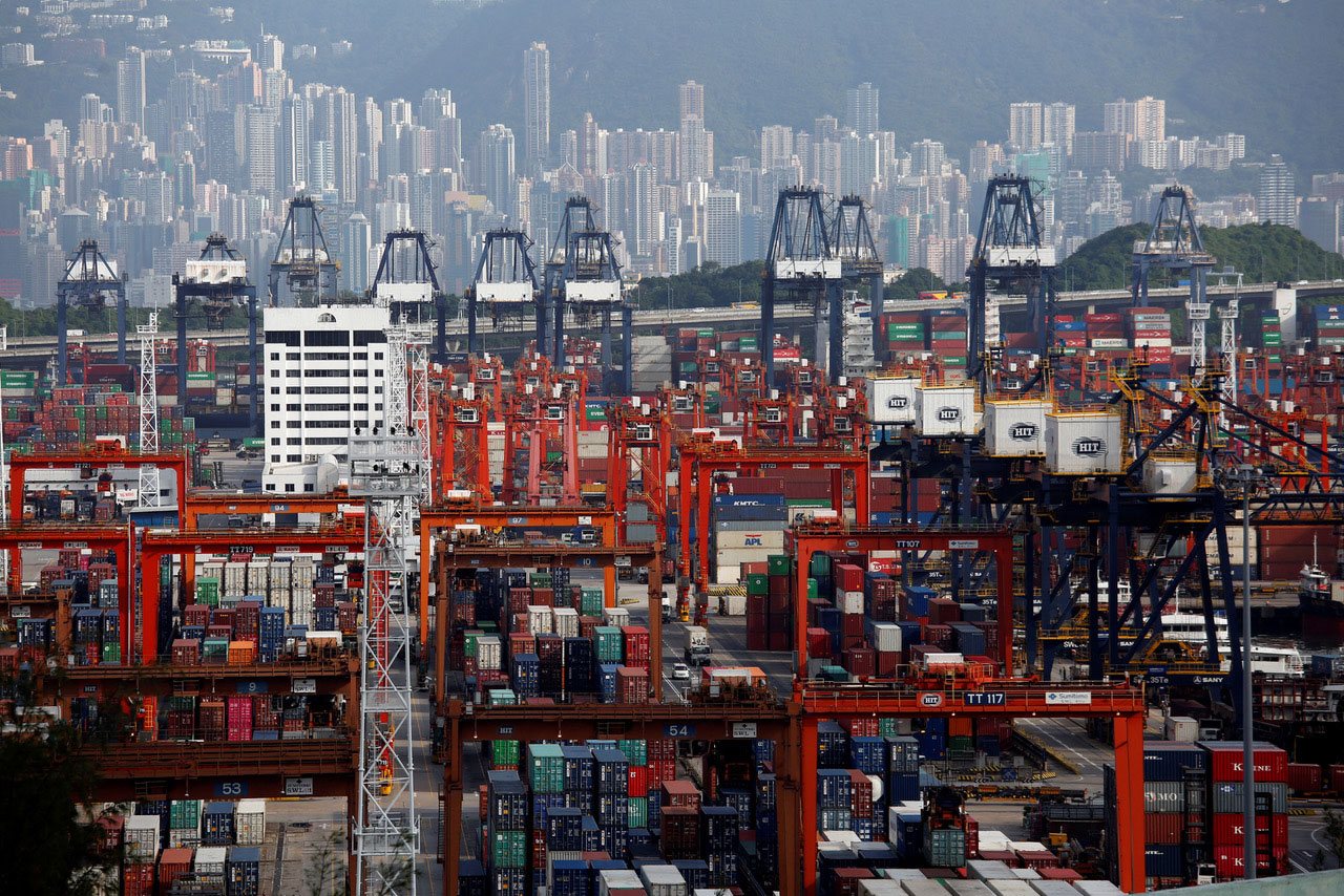 A general view of Kwai Tsing Container Terminals for transporting shipping containers in Hong Kong, China July 25, 2018.