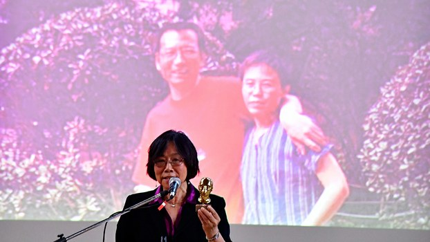 Chinese writer Tienchi Martin-Liao addresses a commemoration for Liu Xiaobo in Berlin, July 13, 2018.