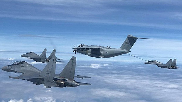 Malaysian Air Force pilots participate in aerial refueling training in airspace over Sabah, Malaysia, July 25, 2019.