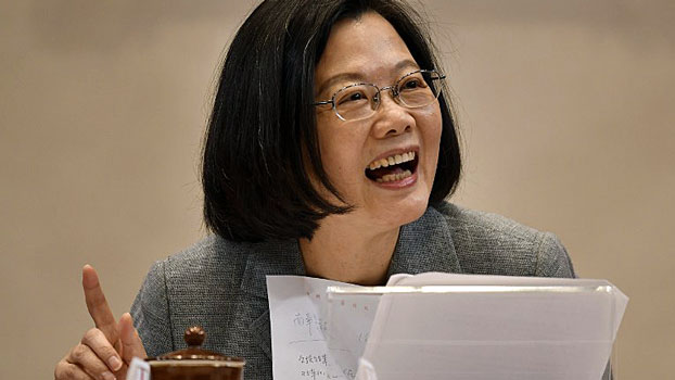 Taiwan's President Tsai Ing-wen speaks during a press conference at the Presidential Palace in Taipei, Jan. 5, 2019.