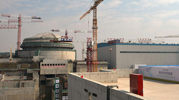 The U.S.$8.3 billion French-built nuclear reactor at Taishan on China's southern coast during construction in 2013.