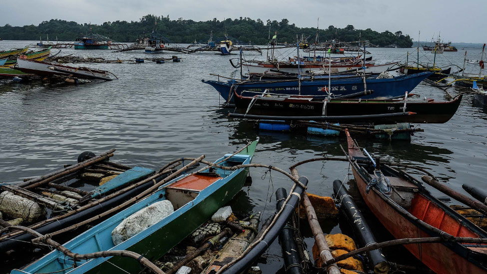 Fishing boats are anchored in Matalvis, a village in Masinloc, Zambales province, Philippines. Sept. 6, 2019.