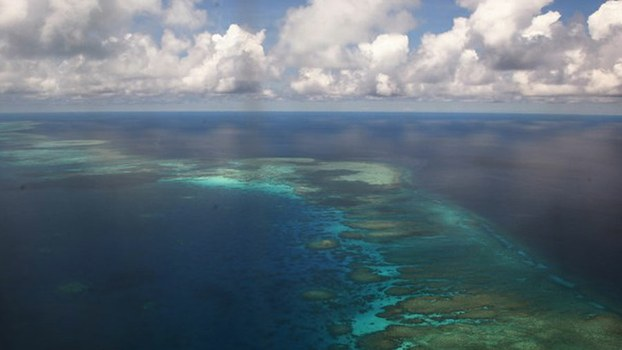 An aerial photo shows part of Mischief Reef in the disputed Spratly Islands in the South China Sea, April 20, 2017.