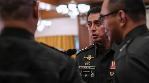 Lt. Gen. Noel Clement (center), the Philippine military's new chief of staff, is seen with other officers at the Foreign Correspondents Association of the Philippines in Manila, Oct. 10, 2019.