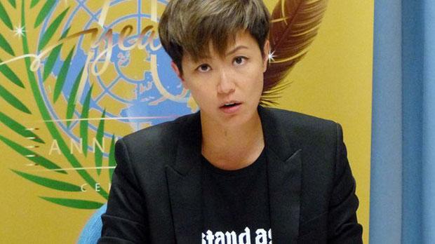 Hong Kong singer Denise Ho speaks at the U.N. Human Rights Council in Geneva, Switzerland, July 8, 2019.
