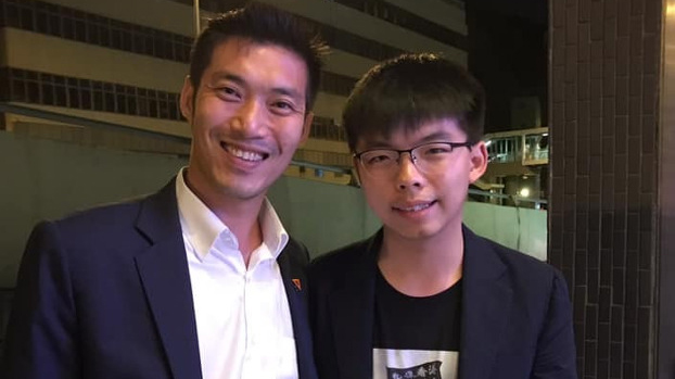Hong Kong activist Joshua Wong (R) posted this photo with Thai opposition politician Thanathorn Juangroongruangkit on his Facebook page, Oct. 6, 2019.