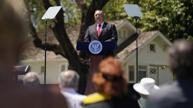 US Secretary of State Mike Pompeo speaks at the Richard Nixon Presidential Library in Yorba Linda, California, July 23, 2020.