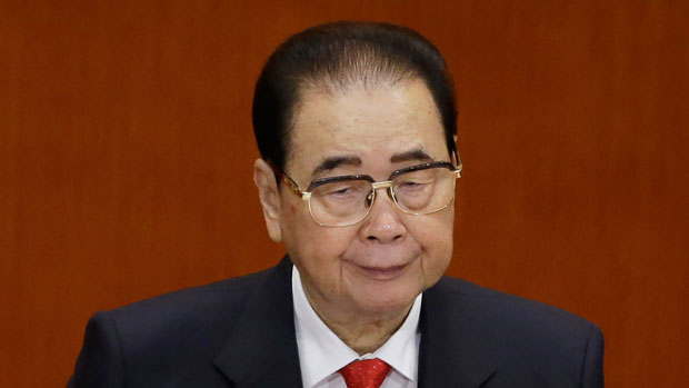 Former hard-line Chinese premier Li Peng is shown in a 2017 file photo.