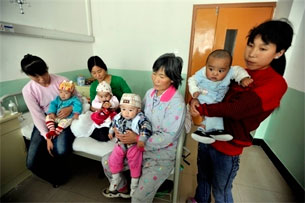 Babies hospitalized after drinking tainted milk formula in China's central Gansu province, Sept. 10, 2008.