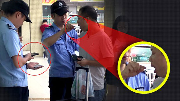 Police collect saliva samples from bus passengers in Foshan City, Guangdong, Aug. 5, 2019.