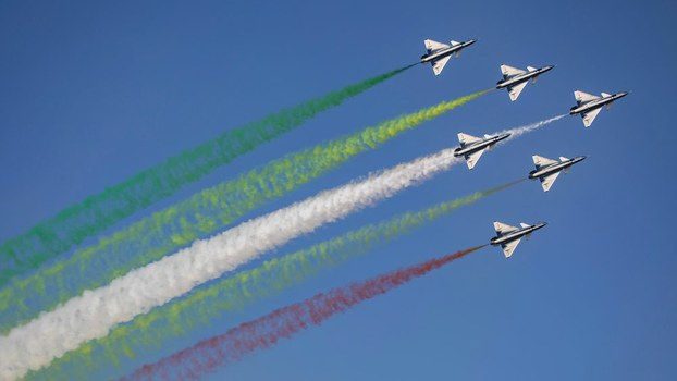 China's People's Liberation Army Air Force (PLAAF) performs in October 2019 as part of the 70th anniversary of the PLAAF's founding.