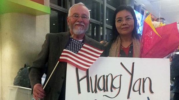 Chinese human rights activist Huang Yan upon arrival in Los Angeles, Jan. 25, 2019.