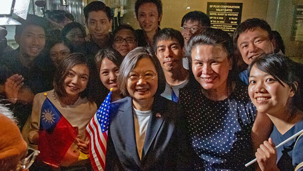 Taiwanese President Tsai Ing-wen poses for photos with overseas Chinese in New York, July 11, 2019.