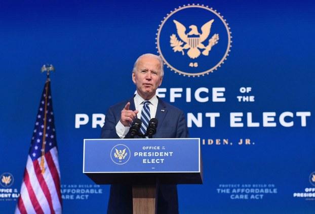 US President-elect Joe Biden delivers remarks in Wilmington, Delaware, Nov. 10, 2020.