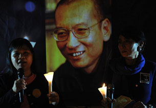 Protesters hold a candlelight vigil for Liu Xiaobo outside the Legislative Council in Hong Kong, Nov. 2, 2010.