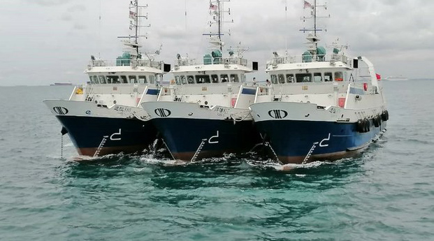 Photo shows three of six Chinese fishing vessels detained by Malaysia on Oct. 9, 2020 for allegedly entering its waters without permission.