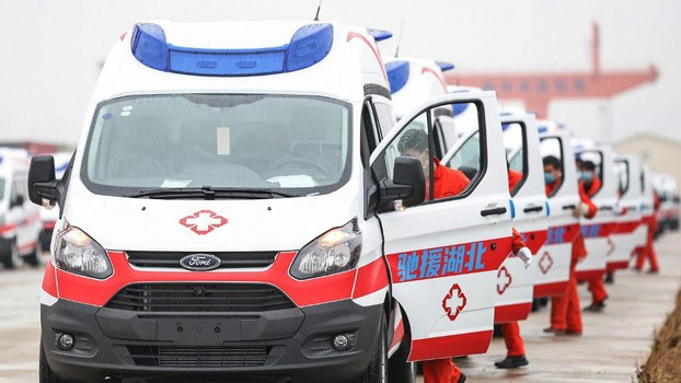 Negative pressure protection and monitoring ambulances preparing to leave for the central Chinese city of Wuhan, epicenter of the coronavirus epidemic, from Nanchang in Jiangxi province, Feb. 12, 2020.