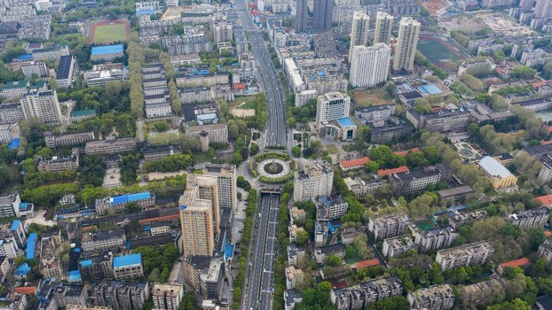 Aerial photo shows nearly empty roads in Wuhan in China's central Hubei province, a day after China lifted tough restrictions on the province at the epicenter of the coronavirus outbreak, March 26, 2020.