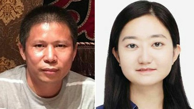 Chinese dissident Xu Zhiyong (L), who is being held on subversion charges, and his girlfriend Li Qiaochu (R), who is incommunicado and is believed to be held by police as a bargaining chip to put pressure on Xu, in an undated photo.