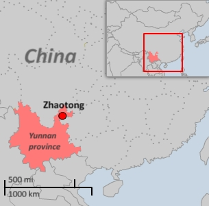 Thousands of people rioted in the streets of Zhaotong city on Nov. 2, 2010.