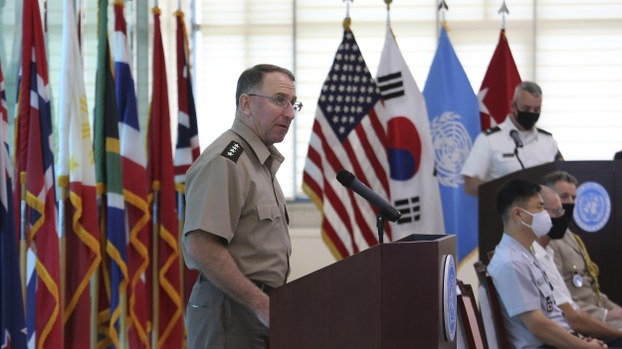 U.S. Gen. Robert Abrams, commander of the United Nations Command, Combined Forces Command, and United States Forces Korea, delivers a speech during the commemorating ceremony for the U.N. Forces Participating Day in the Korean War at the border village of Panmunjom in Paju, South Korea, Monday, July 27, 2020.