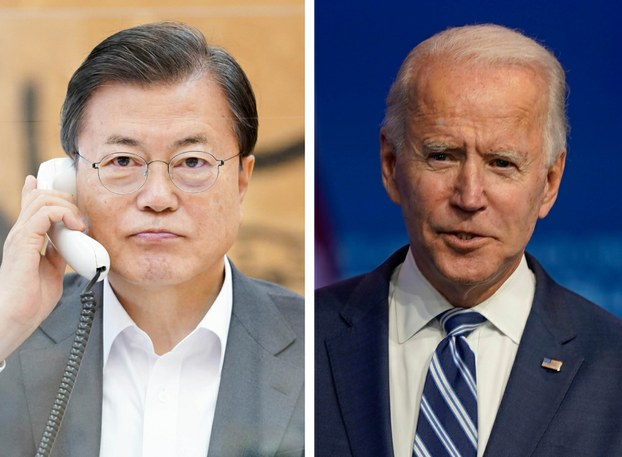 South Korean President Moon Jae-in speaks on the phone with U.S. President-elect Joe Biden (pictured right) at South Korea's Presidential Blue House Nov. 12, 2020.