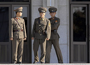 North Korean border guards at Panmunjom, November 2007.