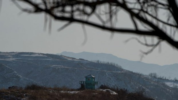 A North Korean guard post on the bank of the Yalu river near the North Korean town of Sinuiju opposite the Chinese border city of Dandong in China's northeast Liaoning province, Jan. 9, 2018.