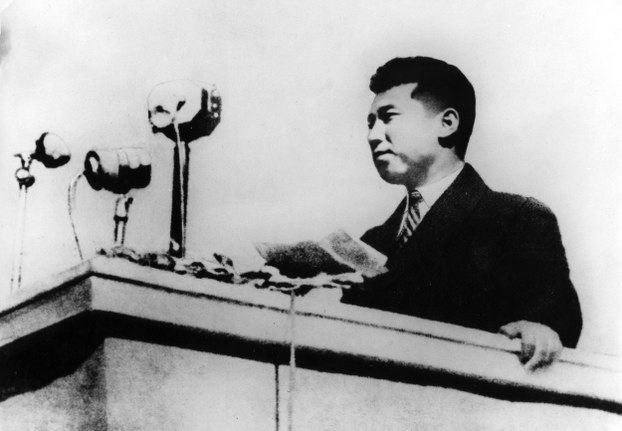 In this October 1945 photo, North Korean leader Kim Il Sung gives a speech at the Pyongyang citizens' welcoming rally returning in triumph in North Korea.