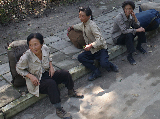 Elderly North Korean women rest by the roadside in this file photo.