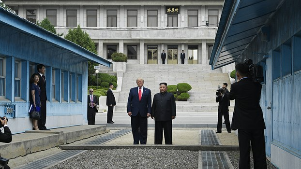 President Donald Trump meets with North Korean leader Kim Jong Un at the border village of Panmunjom in the Korean Demilitarized Zone, Sunday, June 30, 2019.