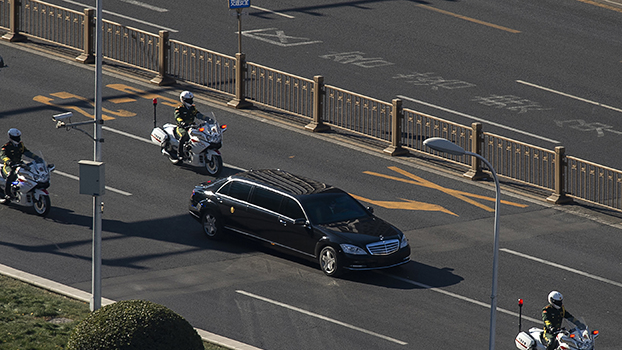 A vehicle in the motorcade of North Korean leader Kim Jong Un is seen in Beijing on Jan. 8, 2019, after Kim arrived in the Chinese capital on an unannounced visit for talks with President Xi Jinping, as preparations ramp up for an expected second summit with US President Donald Trump.