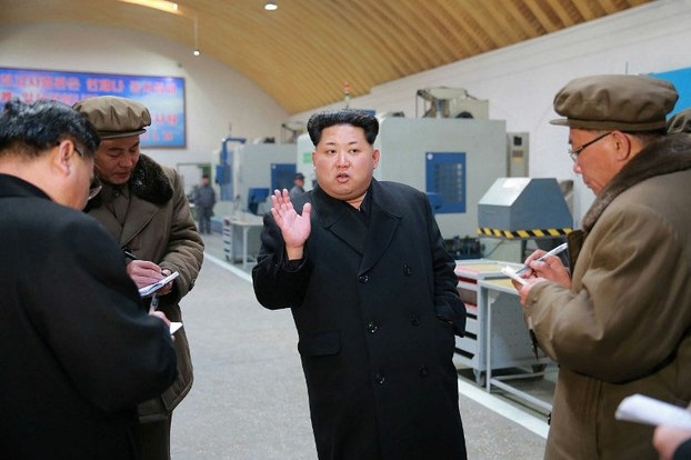 This undated picture of North Korean leader Kim Jong Un the Thaesong machine factory in Nampo city, released by North Korea's official Korean Central News Agency, March 2, 2016.